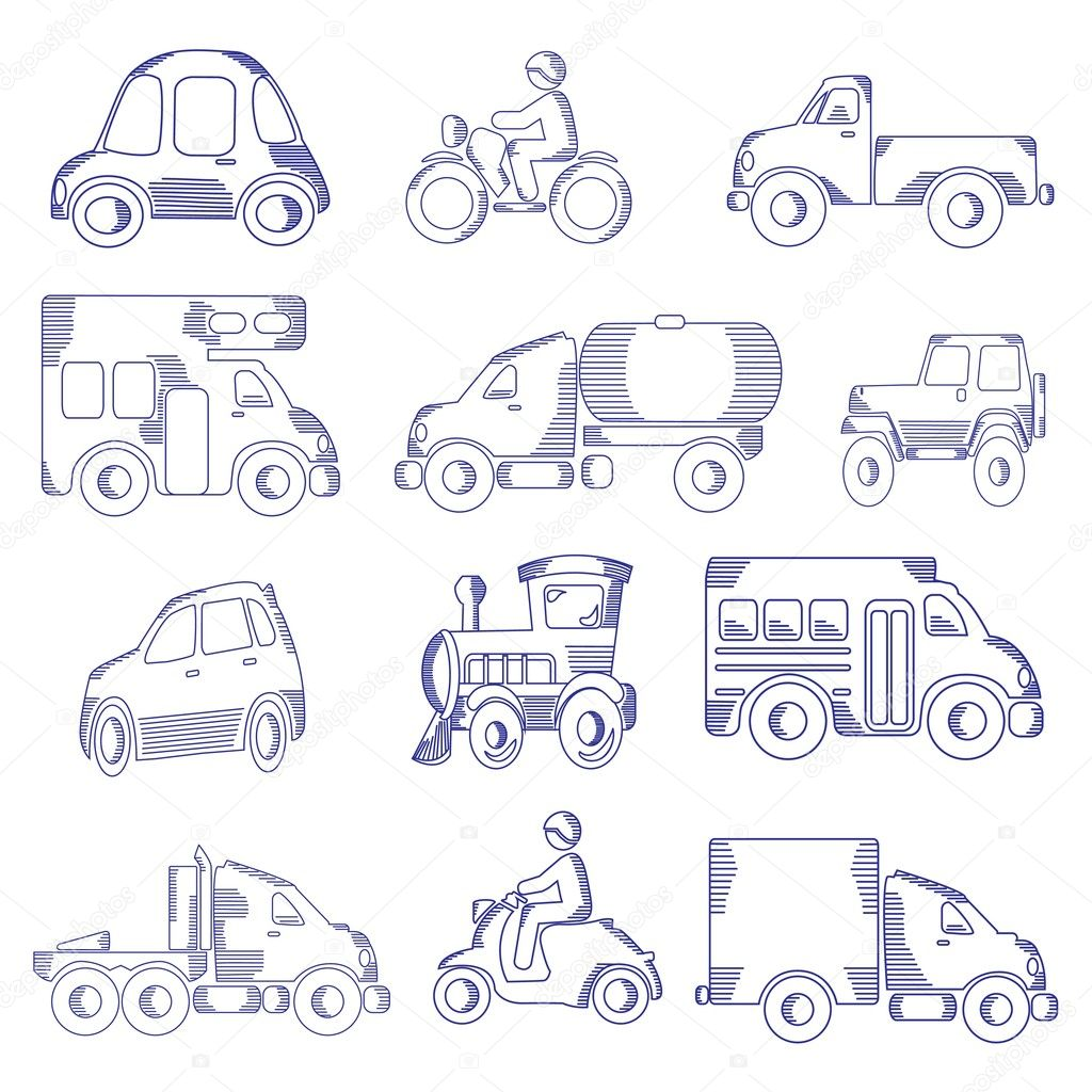 Sketching Of Transportation Icons