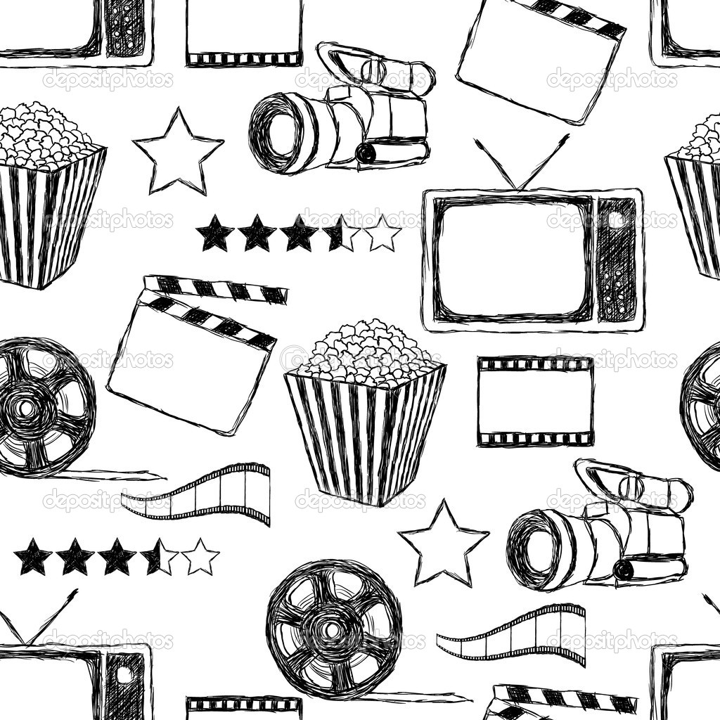 Doodle Movie Seamless Pattern