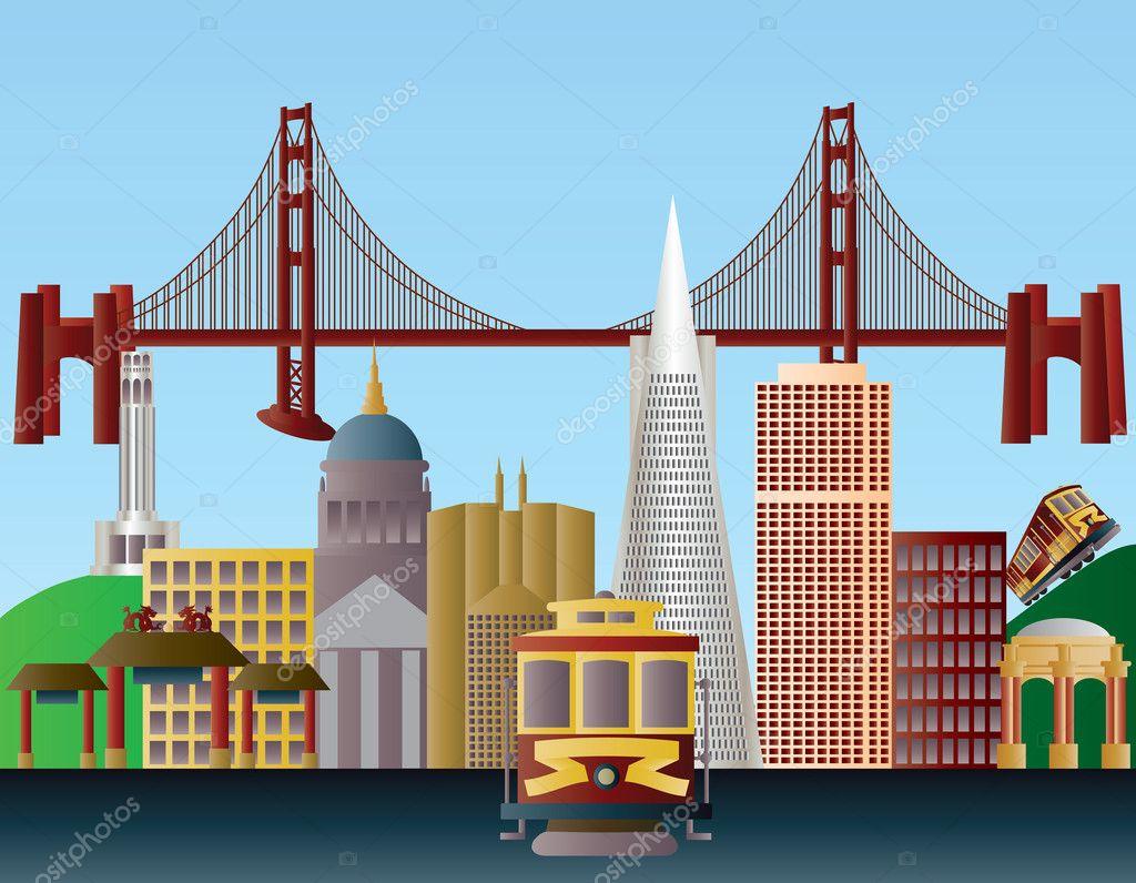 Golden Gate Bridge San Francisco Skyline Diagram Of The