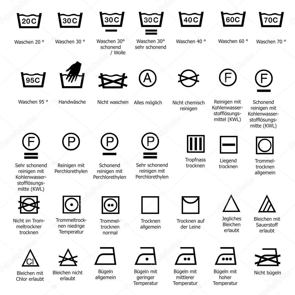 Wassen Van Textiel Zorg Symbolen Wassen Stomerij Wash