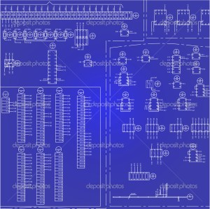 Electrical wiring diagram background — Stock Vector