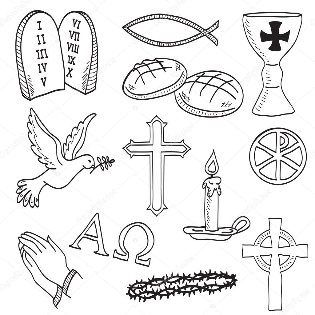 Christian Hand Drawn Symbols Illustration
