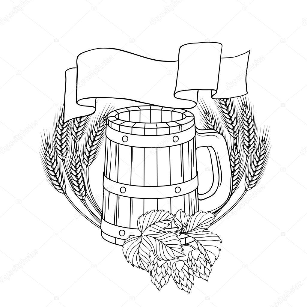 Vector Illustration Of A Barrel Mug Wheat Hops