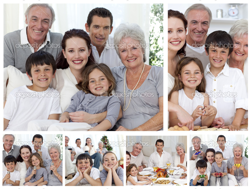 Collage Of A Whole Family Enjoying Sharing Moments
