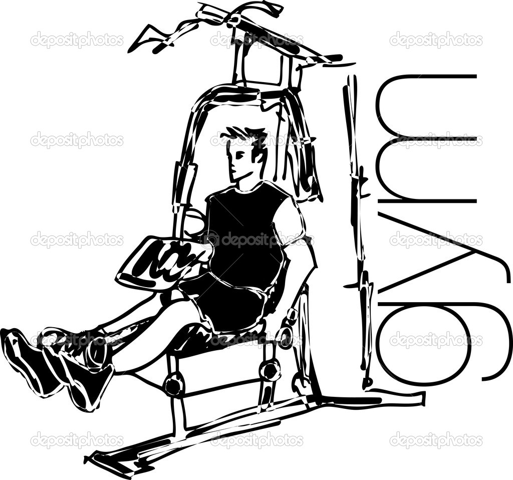 Sketch Of Man Using Pulldown Machine In Gym Vector