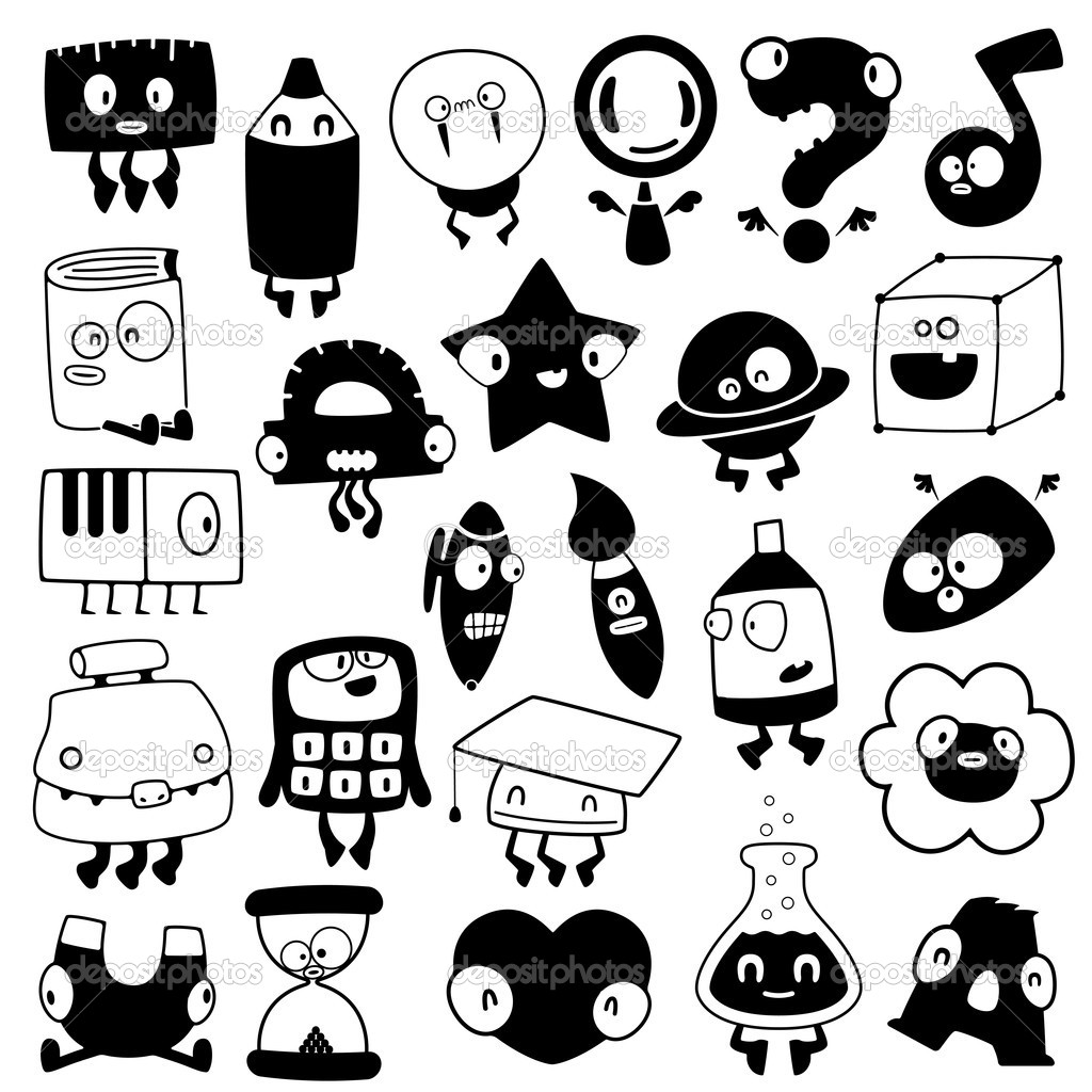 Conjunto De Siluetas De Objetos De La Escuela De Dibujos