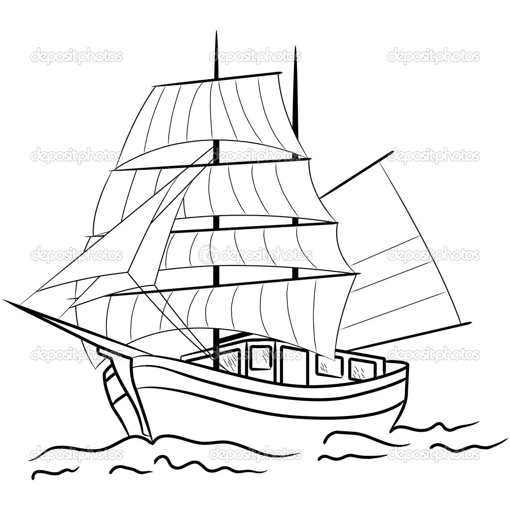 Sketch Of Nautical Sailing Vessel