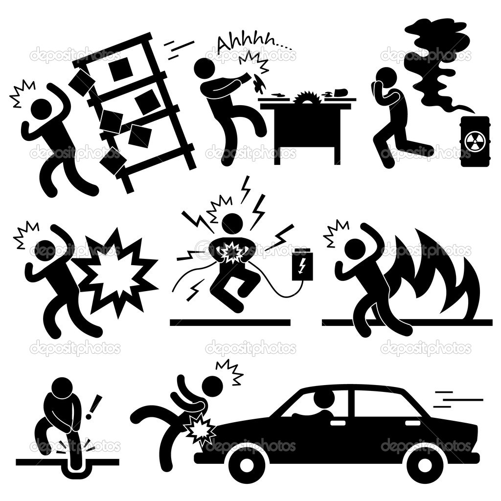 Car accident explosion electrocuted fire danger icon symbol sign pictogram stock illustration