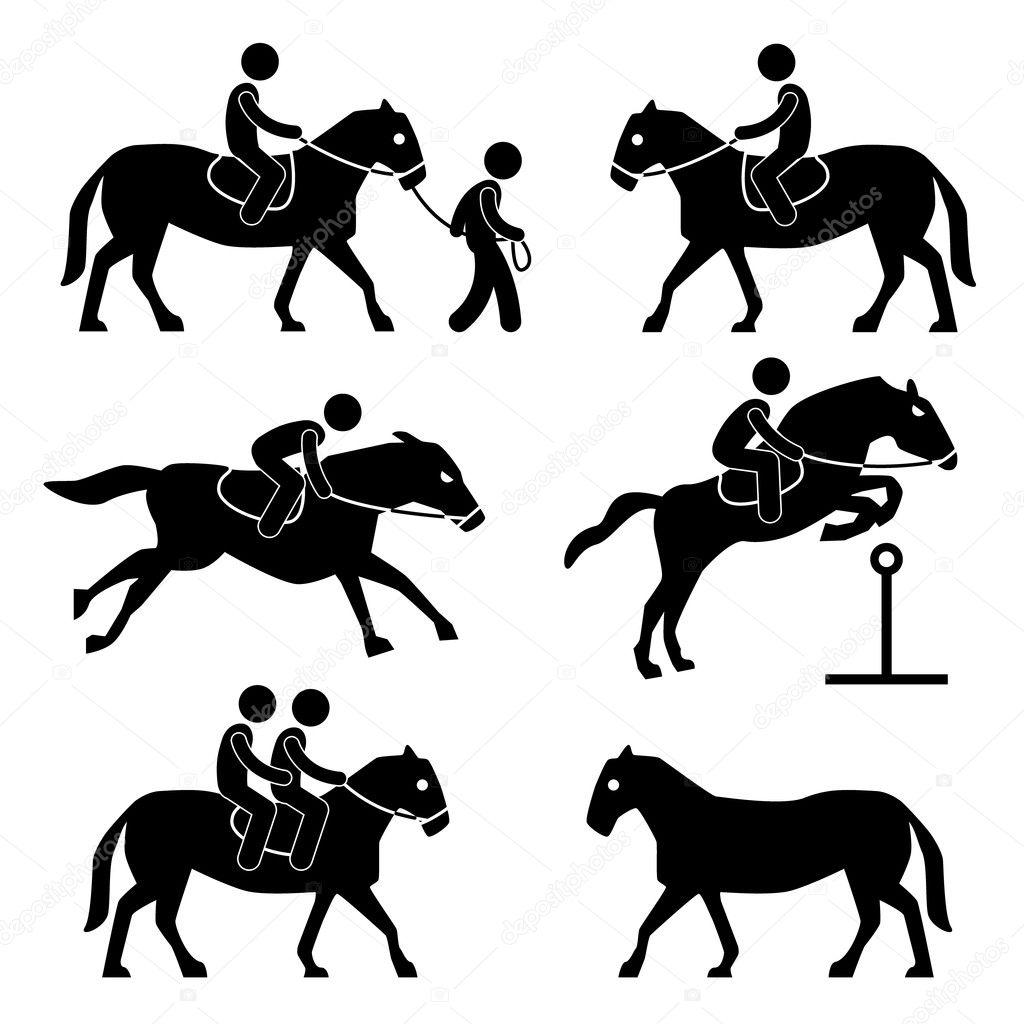 Paardrijden Opleiding Jockey Paardensport Pictogram