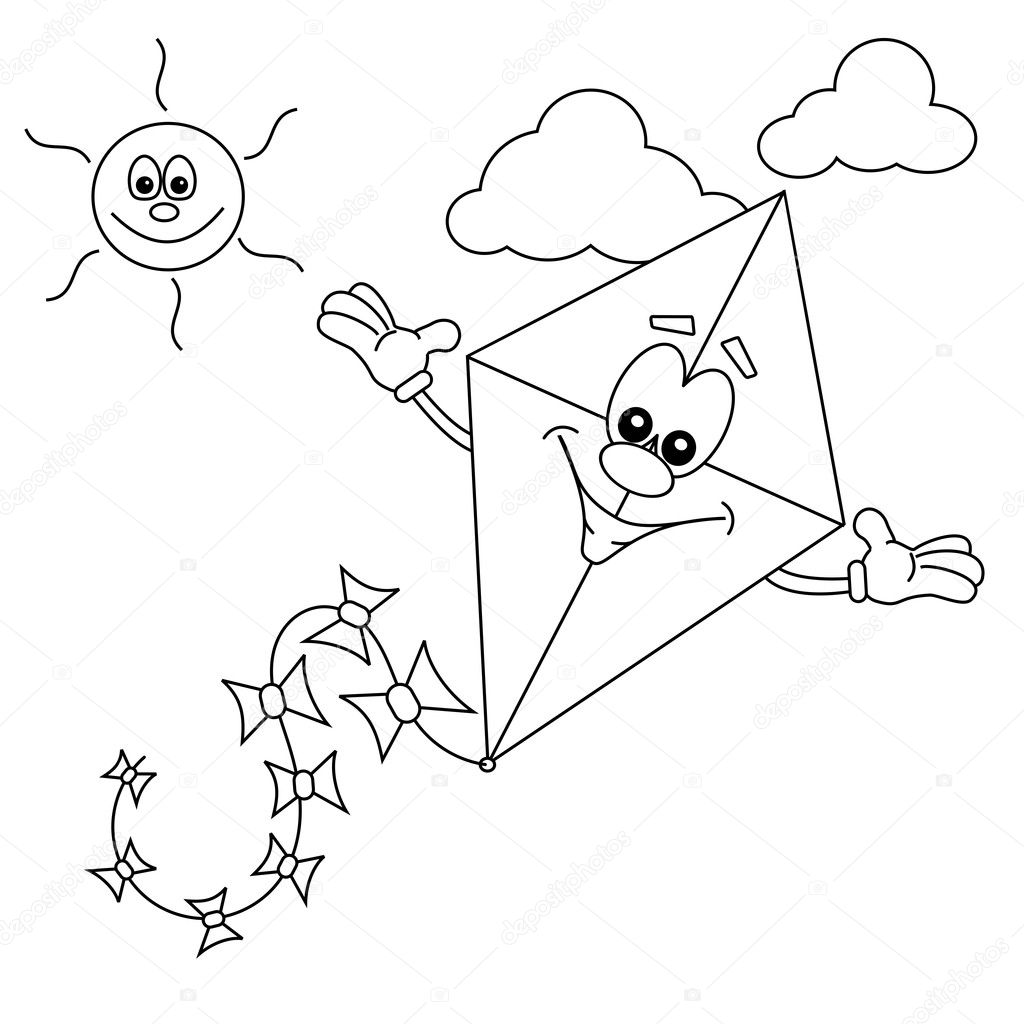 Cartoon Kite Outline