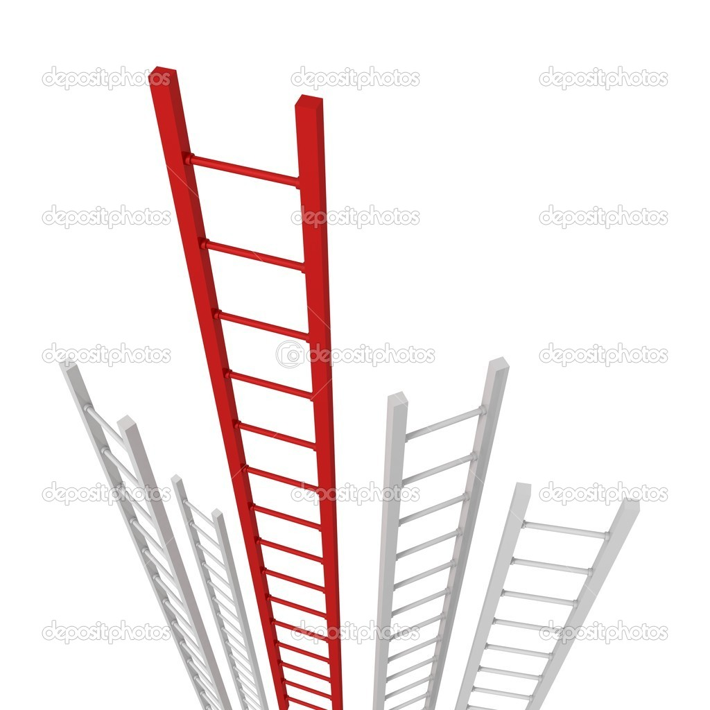 Red Success Ladder Standing Out From A Group Of White