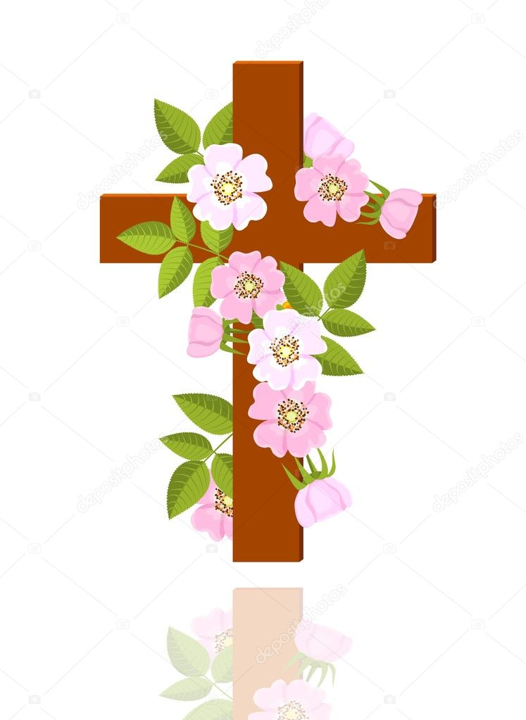 Cross With Flowers Stock Vector Anikakodydkova 10925660