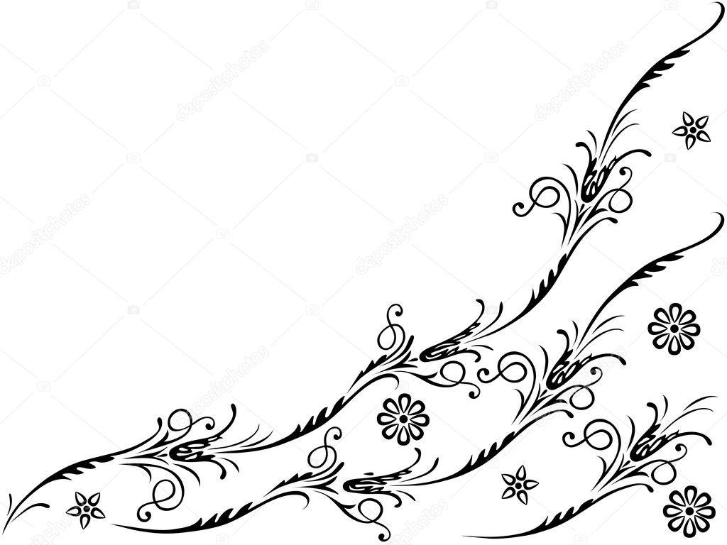 Elementi Vettoriali Per Disegno Fiori E Ornamenti Floreali