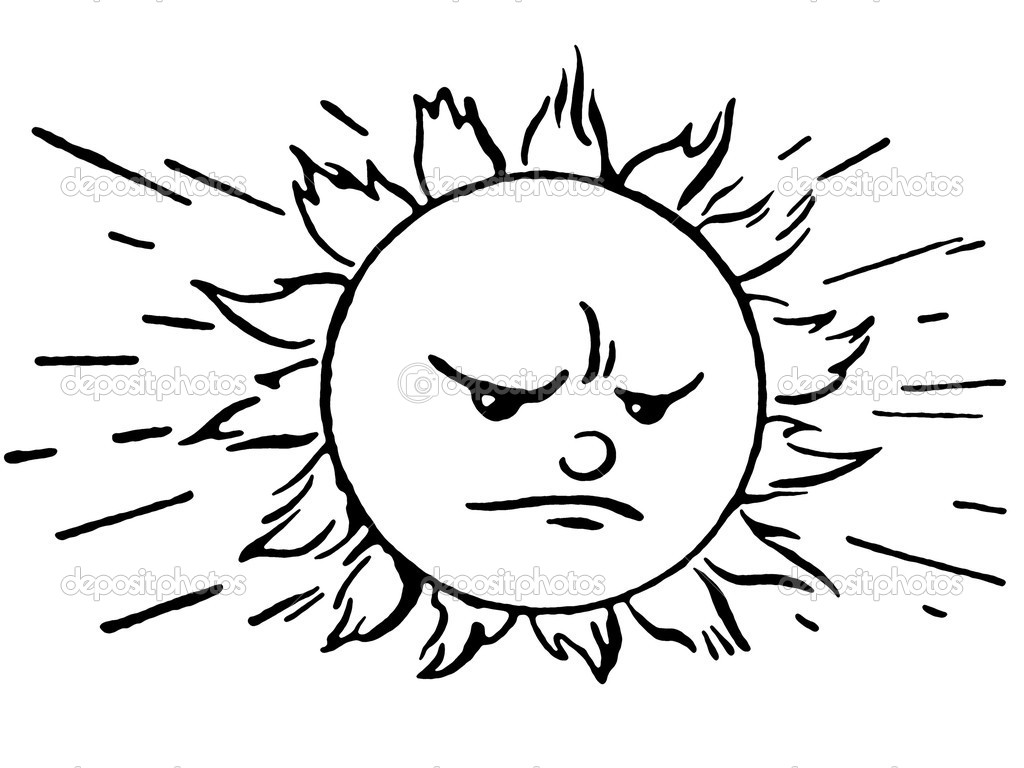 A Black And White Version Of An Angry Looking Flaming Sun