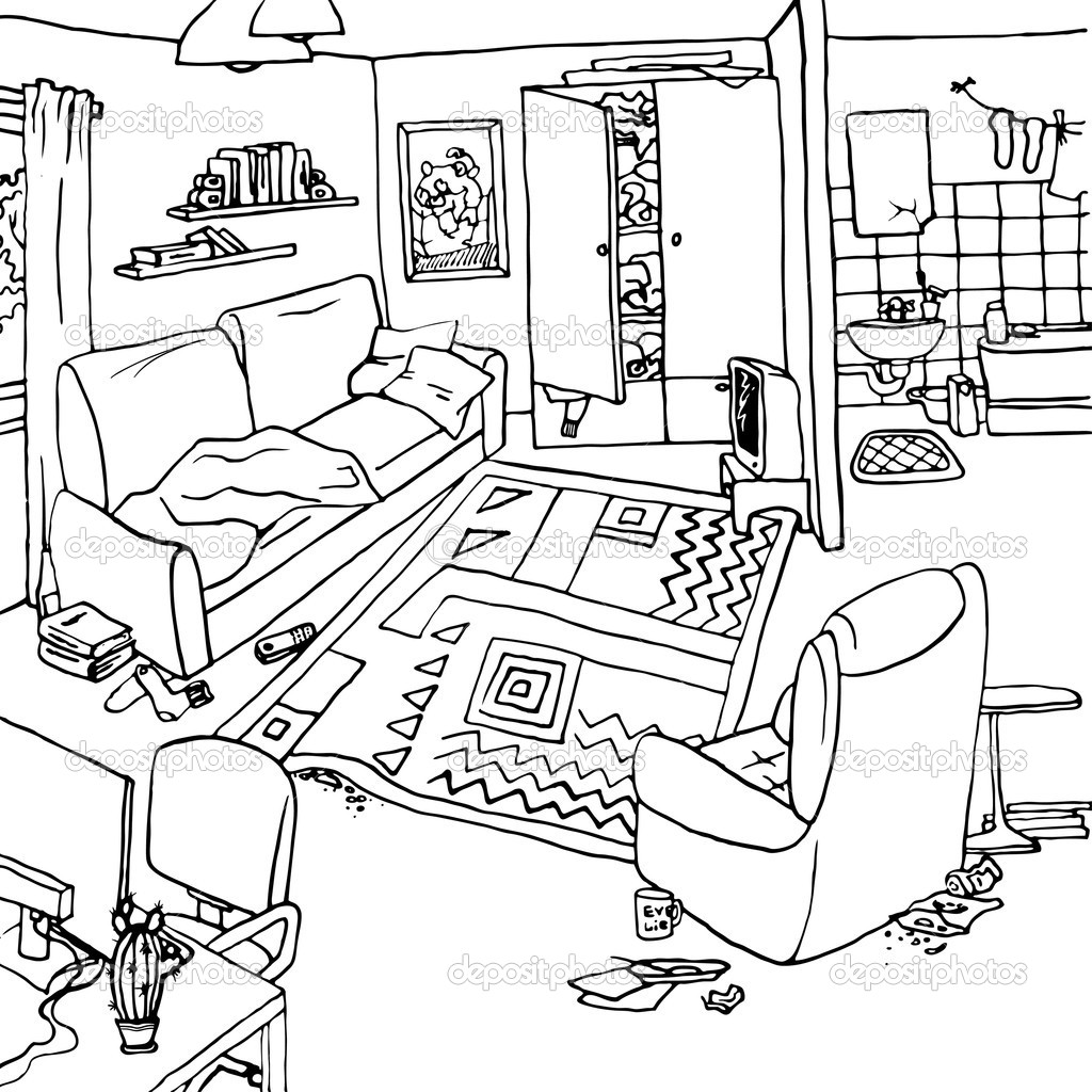 Illustration Of Interior With Clutter