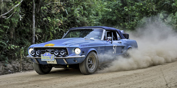 A Ford Mustang competing in the 2015 Trans America Rally
