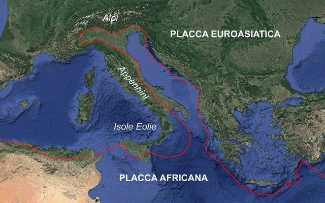 Placca africana e placca eurOasiatica. Credit: INGV