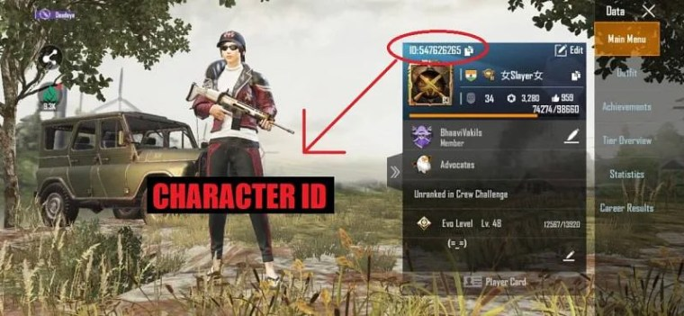 Character ID in PUBG Mobile