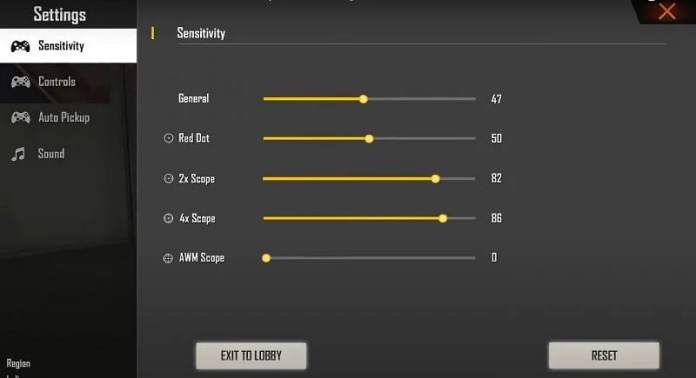 Sensitivity settings mentioned in the video