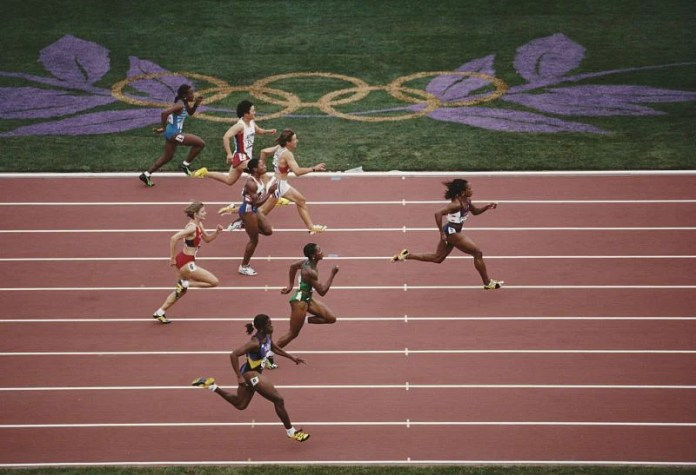 Gayle Devers at the Summer Olympics in Atlanta.