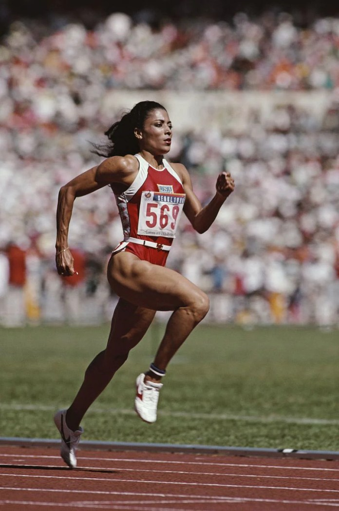 Florence Griffith-Joyner in the 100m dash in the Seoul Olympics