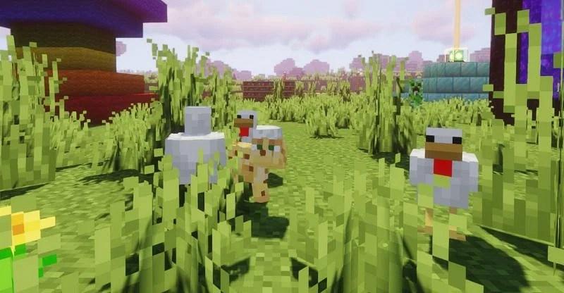 An Ocelot assaulting a group of innocent Chickens (Image via Minecraft)