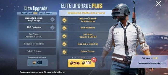 The Elite Pass Upgrade is worth 280 BC, and the Elite Upgrade Plus costs 800 BC