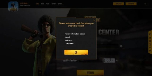 Confirm all your details and then tap the Confirm button to complete the process (Image via PUBG Mobile)