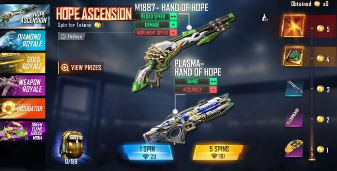 The Hope Ascension event has been added to Garena Free Fire