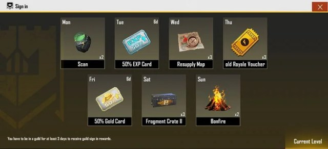 Players will get a EXP card as a sign in reward if they are part of a guild