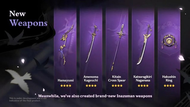 New 4-star weapons (image via miHoyo)