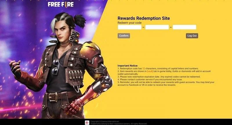 Garena Free Fire Reward Code 17 August free fire rewards