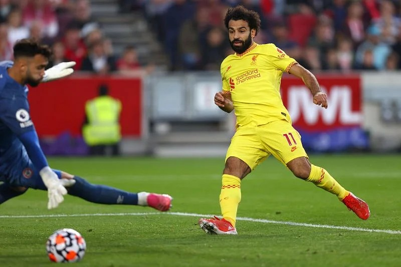Salah netted his 100th league goal for Liverpool