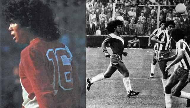 Maradona, con la 16 de Argentinos Juniors, ante Talleres (Fotos: La Voz / Archivo).