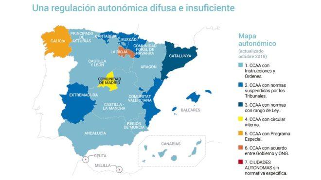 Mapa sobre universalidad sanitaria de Reder