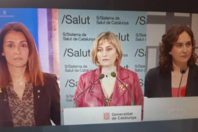 Rueda de prensa de Meritxell Budó, portavoz del Govern; Alba Vergés, consejera de Salud, y Ada Colau, alcaldesa de Barcelona.