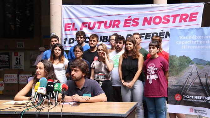 Representants d'Universitats per la República, en roda de premsa (ACN)