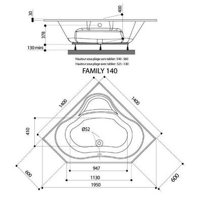 Baignoire D Angle Dimension 140x140 Aquaneo Lapeyre
