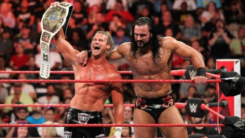 Dolph Ziggler (left) with Drew McIntyre (right)