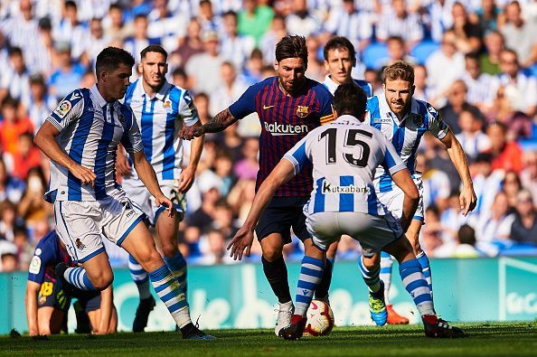 Lionel Messi in action against Real Sociedad during their 2-1 away win earlier this season
