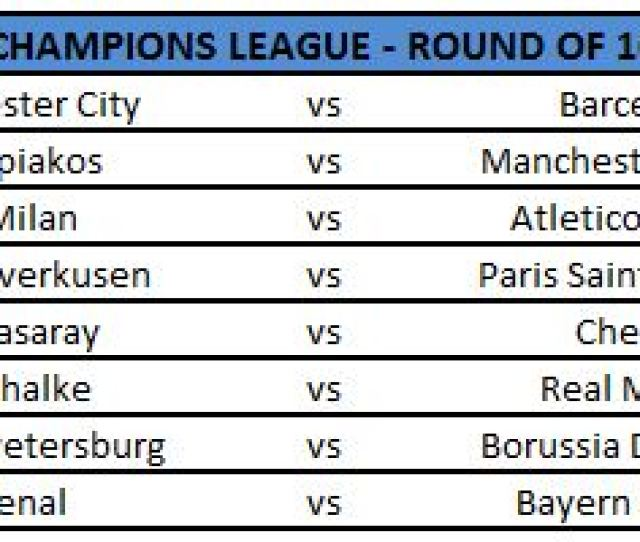 The Biggest Fixtures Include The Two Premier League Sides Who Finished Runners Up In Their Group Arsenal Take On Champions Bayern Munich While Manchester