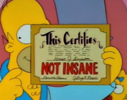 "Homer Simpson ""Not Insane"""