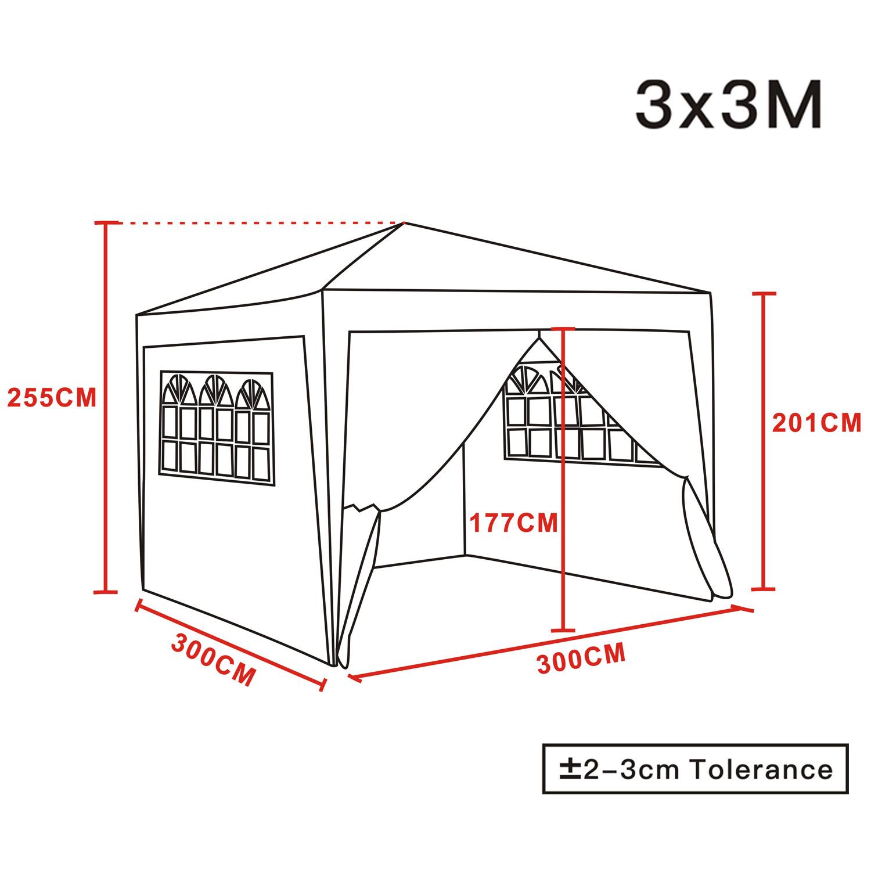 3x3m Pop Up Gazebo Marquee Outdoor Garden Party Tent