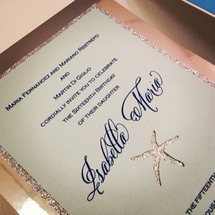 Glitter Starfish Invitation