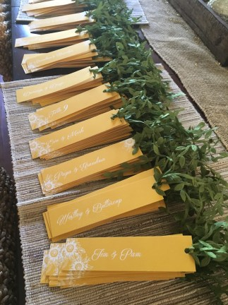 Used bookmarks for place cards