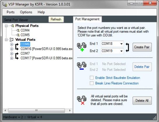 Virtual Serial Port (VSP) Manager Setup