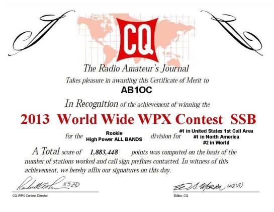 2013 CQ Worldwide WPX SSB Certificate