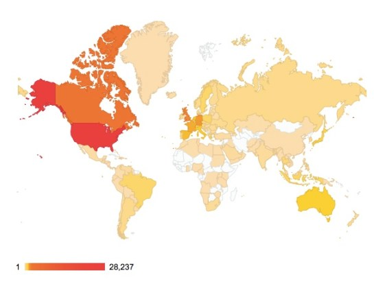 Readers From 152 Countries Around The World