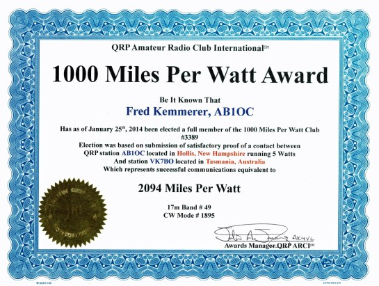 1,000 Mile Per Watt Award