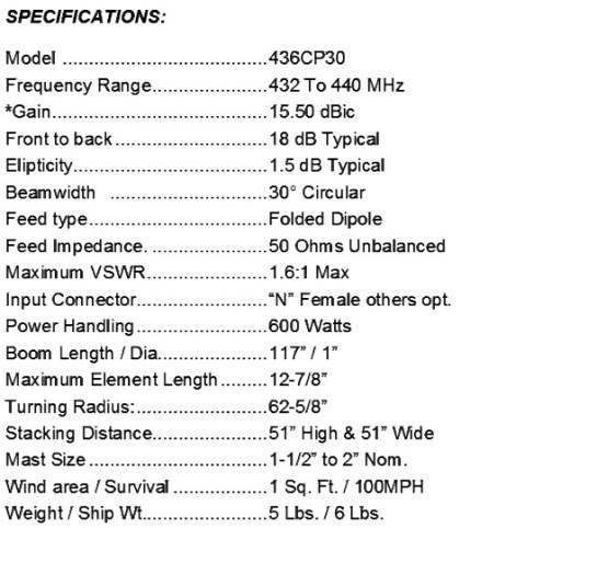 436CP30 Antenna Specifications